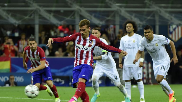 Antoine Griezmann smashed a penalty against the bar