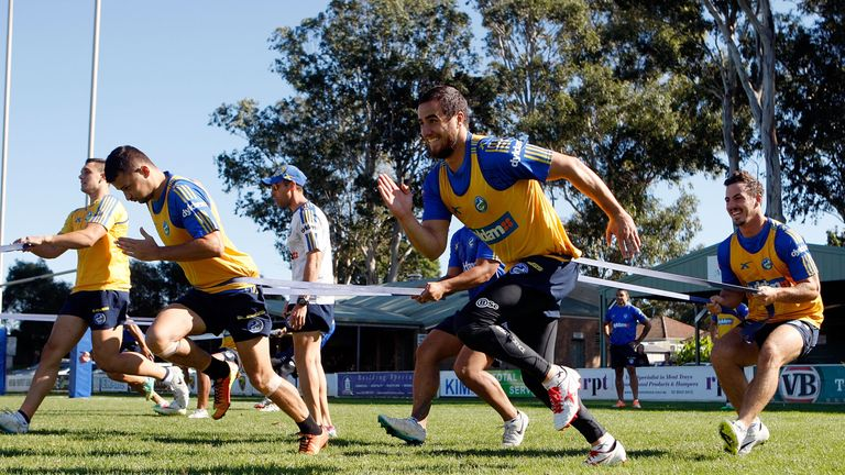 Api Pewhairangi  during a training session with the Parramatta Eels