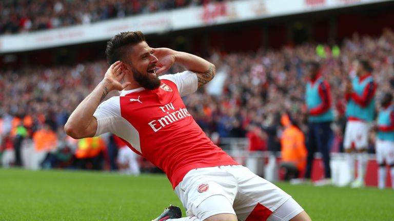 Olivier Giroud of Arsenal celebrates scoring his team's second goal