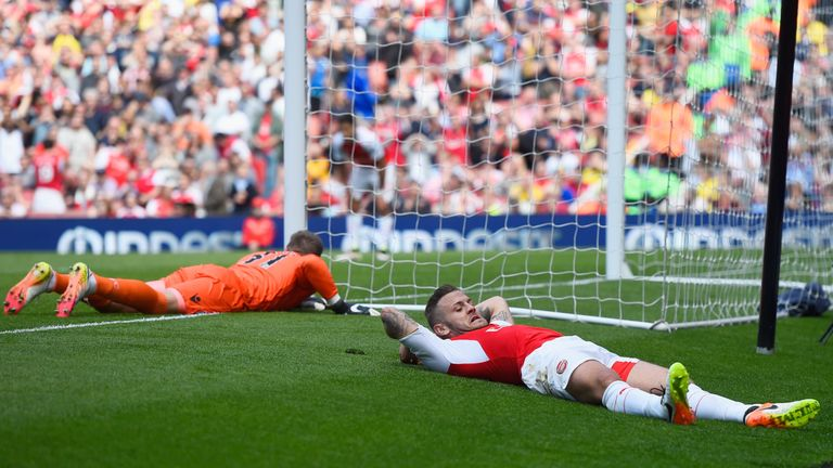 Wilshere missed a golden chance in the first half to mark his comeback with a goal
