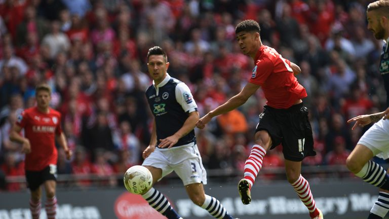 Ashley Fletcher opens the scoring for Barnsley against Millwall in the League One play-off final
