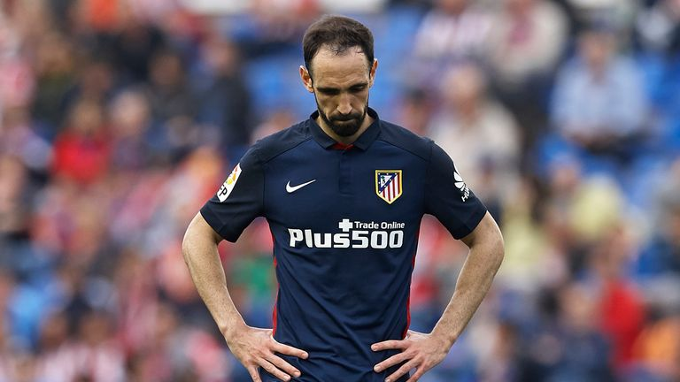 Juanfran of Atletico de Madrid reacts during La Liga match between Levante UD and Atletico de Madrid at Ciutat de Valencia on Ma