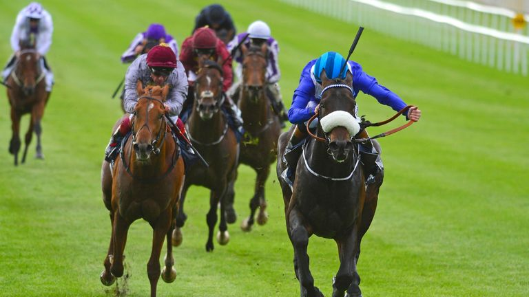 Awtaad, ridden by Chris Hayes, wins the Tattersalls Irish 2,000 Guineas at the Curragh