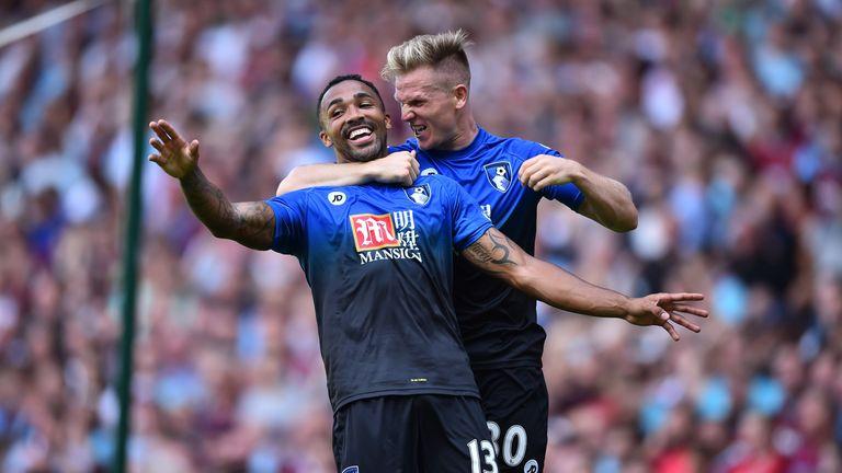 Bournemouth's Callum Wilson (L) celebrates with Matt Ritchie (R)