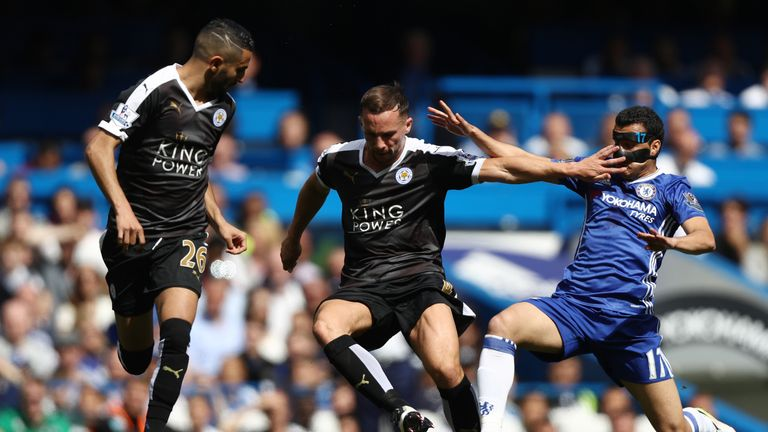 Danny Drinkwater (centre) levelled for Leicester as they held Chelsea at Stamford Bridge