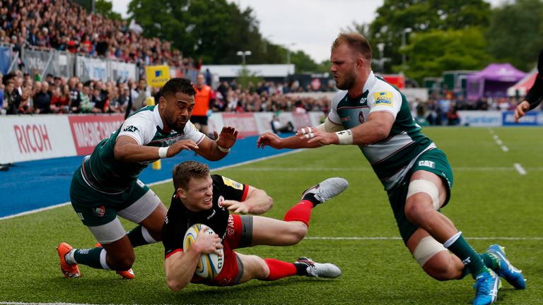 Saracens' Chris Ashton added another two tries to his Premiership tally.