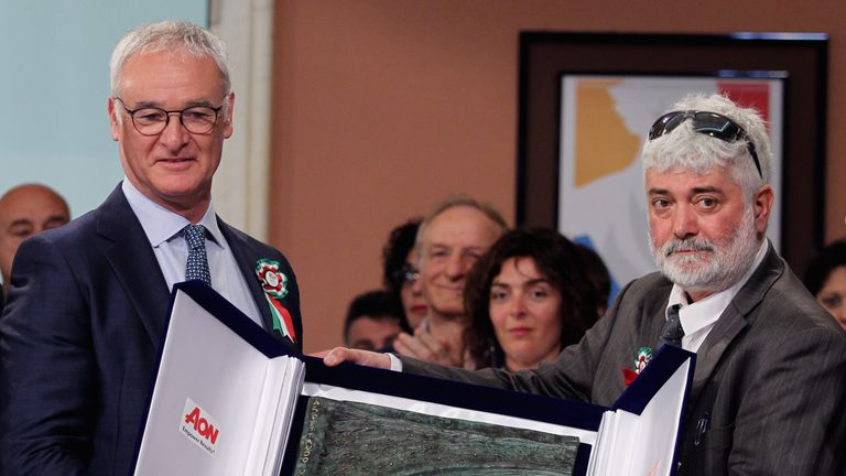 Claudio Ranieri collects the Enzo Bearzot Award 2016 in Rome on Monday
