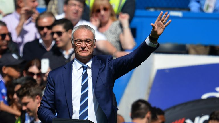 Claudio Ranieri waves to fans before Leicester's game at Stamford Bridge
