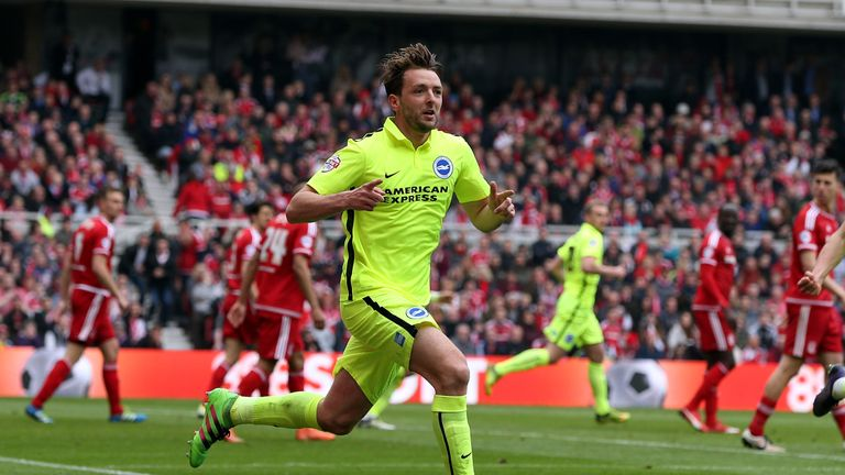Dale Stephens of Brighton celebrates after scoring against Middlesbrough