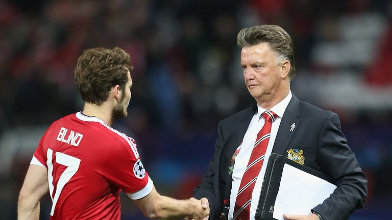 Daley Blind shakes hands with Manchester United manager Louis van Gaal
