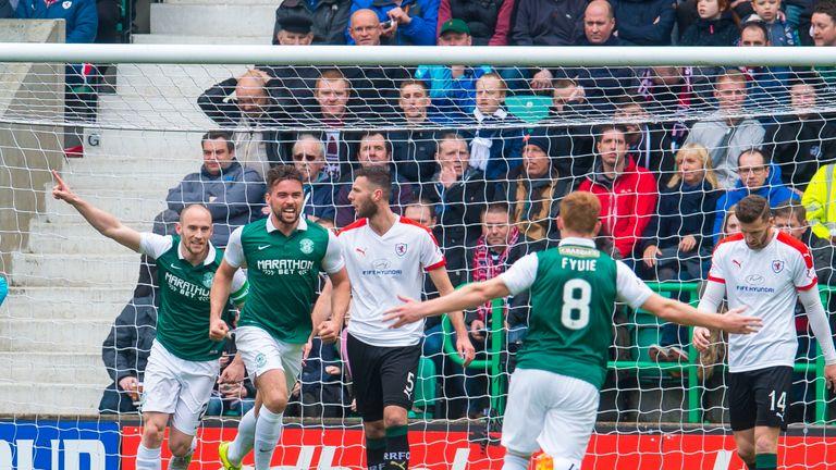 Hibernian's Darren McGregor (middle) celebrates after he scores his side's second goal.