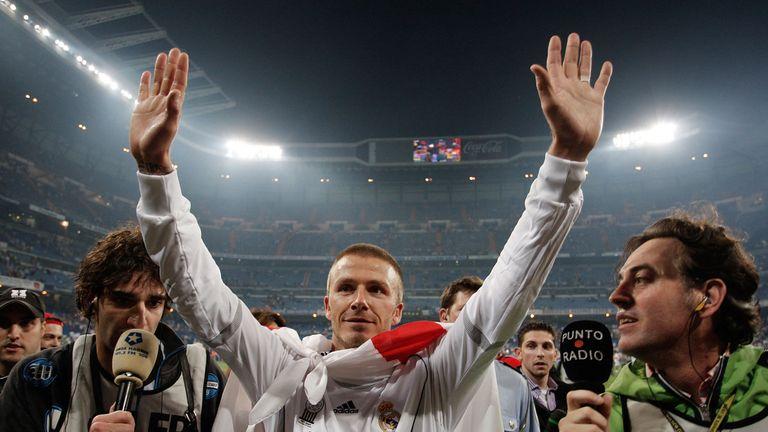 MADRID, SPAIN - JUNE 17:  David Beckham of Real Madrid celebrates after Real won the Primera Liga after the Primera Liga match between Real Madrid and Mall
