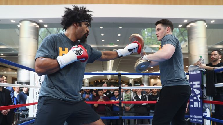 Haye sparred with trainer Shane McGuigan during his media work out ahead of Saturday's fight