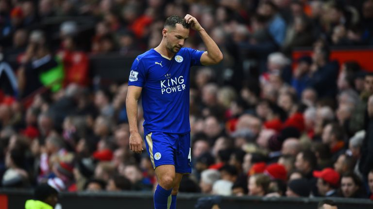 Danny Drinkwater leaves the field after being sent off against Manchester United.