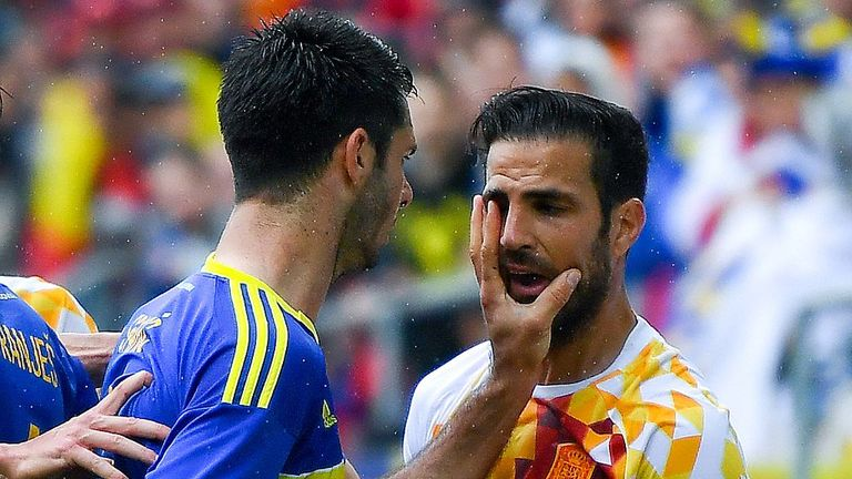 Emir Spahic of Bosnia slaps Cesc Fabregas of Spain