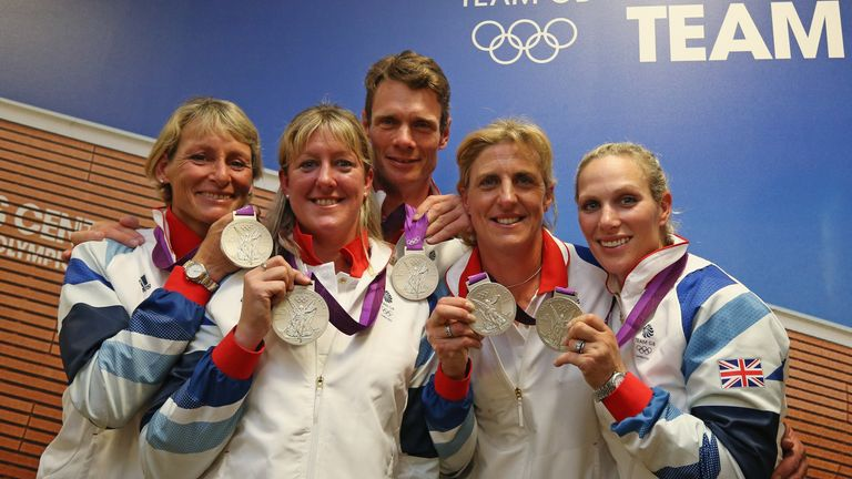 Zara Tindall and GB team-mates (L-R) Mary King, Nicola Wilson, William Fox-Pitt and Kristina Cook show off their silver medals won at London 2012