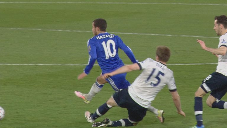 Eric Dier was booked for his foul on Eden Hazard...