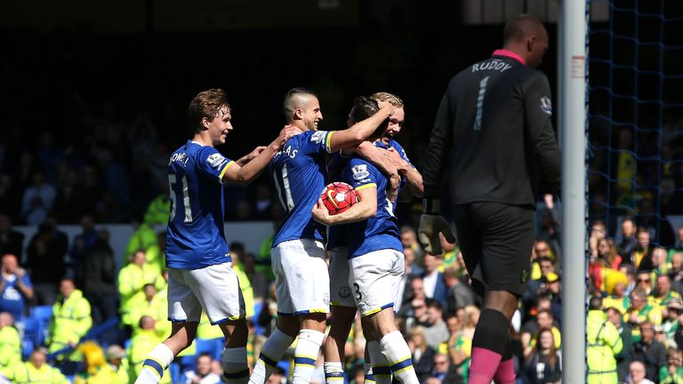Leighton Baines of Everton celebrates scoring his team's second goal against Norwich
