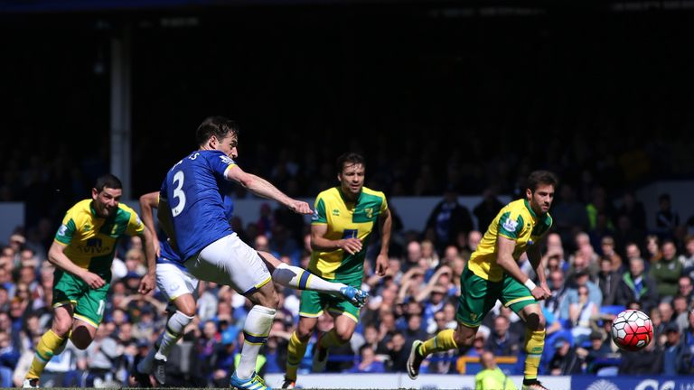 Leighton Baines penalty goal, Everton v Norwich City, Premier League
