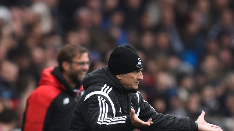 Francesco Guidolin, manager of Swansea City, reacts during the Barclays Premier League match v Liverpool at the Liberty Stadium