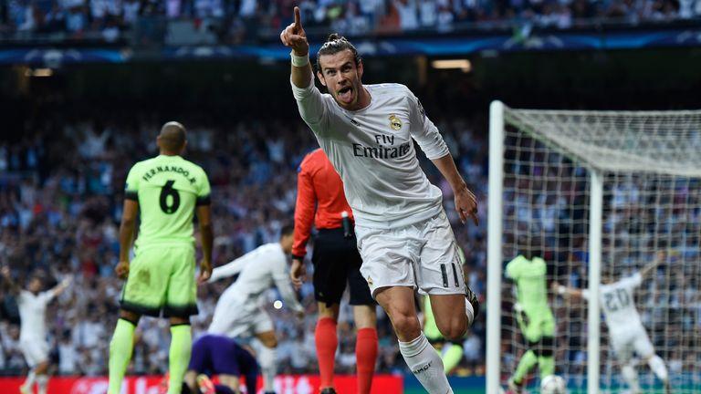 Gareth Bale celebrates scoring against Man City