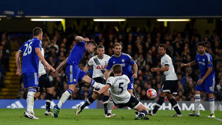Gary Cahill  scores Chelsea's first goal