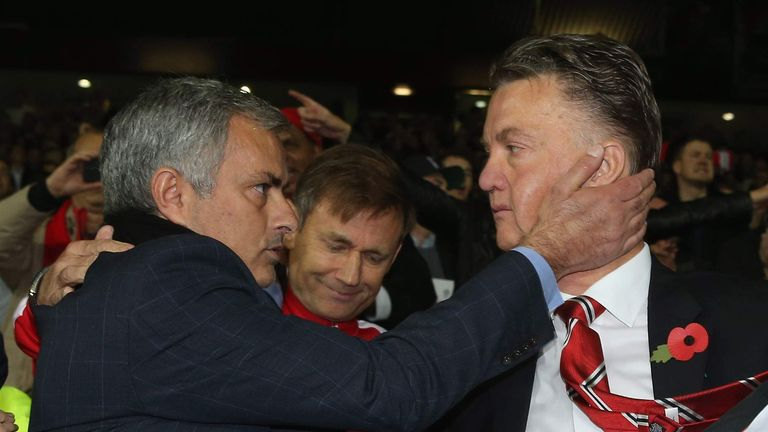 Jose Mourinho (L) and Louis van Gaal