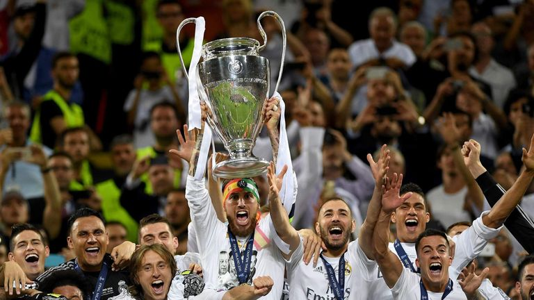 Real Madrid players celebrate with Champions League trophy