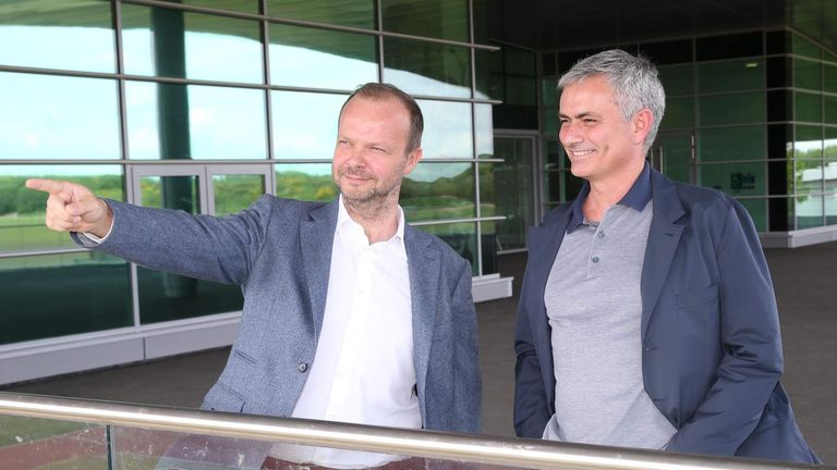 Mourinho (R) was shown around United's training complex on Monday by executive vice-chairman Ed Woodward
