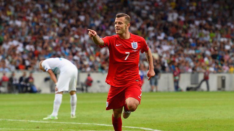 Jack Wilshere celebrates scoring England's second goal against Slovenia