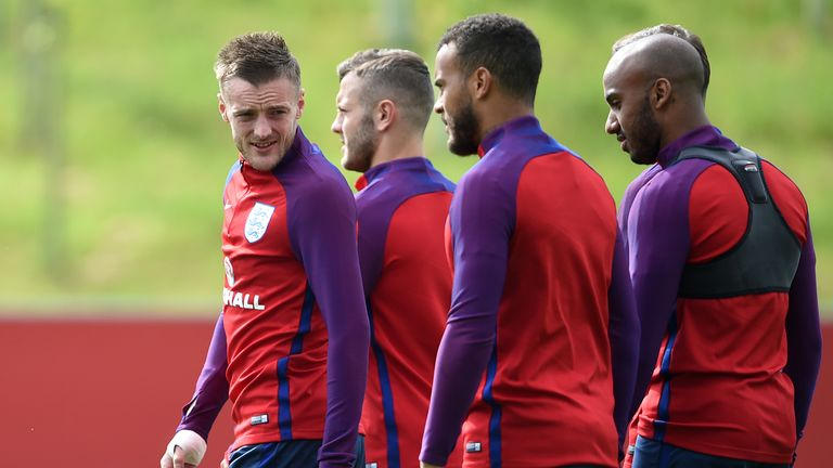 Vardy (L) is currently away with England preparing for Euro 2016