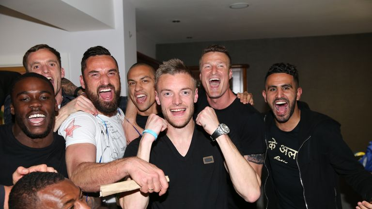 Jamie Vardy, Riyad Mahrez and Leicester City players celebrate winning the Premier League title (Plumb Images)