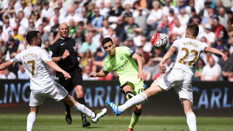 Jesus Navas, Swansea City v Manchester City, Premier League