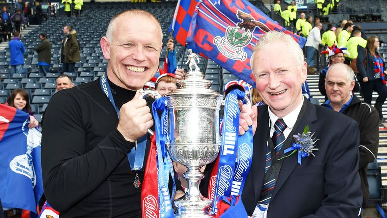 John Hughes (l) and Inverness CT chairman Kenny Cameron with the Scottish Cup