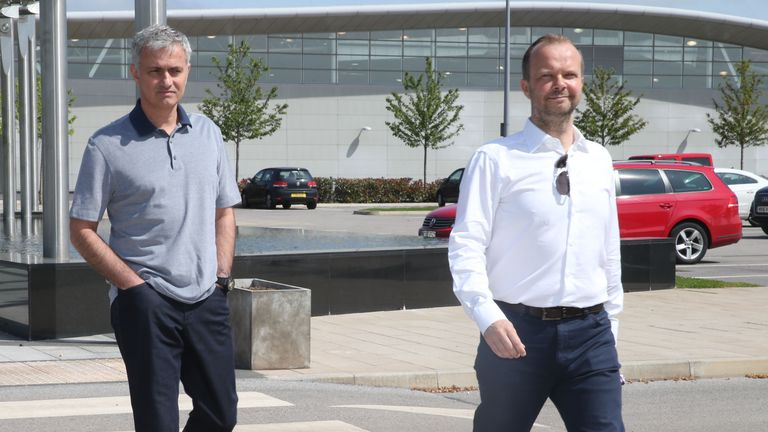 Jose Mourinho is shown around Manchester United's training complex by Ed Woodward
