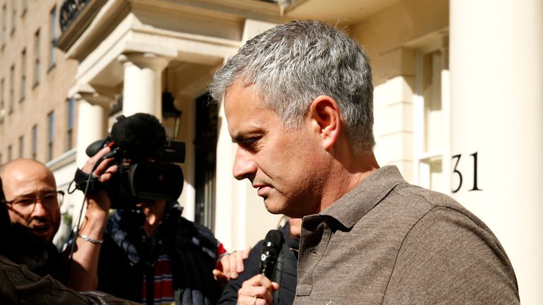 Jose Mourinho speaks to the press as he leaves his house in central London on Tuesday, 24 May