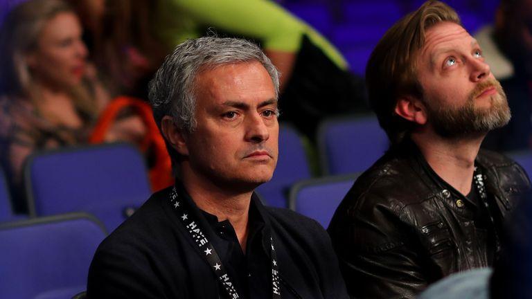 Jose Mourinho looks on at The O2 Arena ahead of David Haye's fight against Arnold Gjergjaj