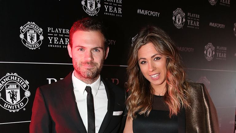 Juan Mata of Manchester United attended the awards night with his partner