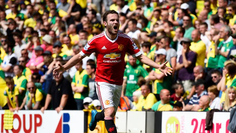 Juan Mata celebrates what proved the matchwinner for Manchester United at Norwich