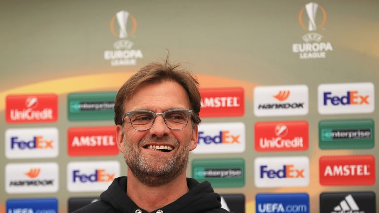 LIVERPOOL, ENGLAND - MAY 04:  Jurgen Klopp, manager of Liverpool looks on during a press conference ahead of the UEFA Europa League Semi-Final Second Leg m