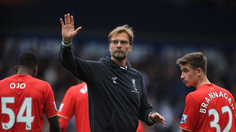 Jurgen Klopp, manager of Liverpool, applauds supporters after the Premier League match against West Brom
