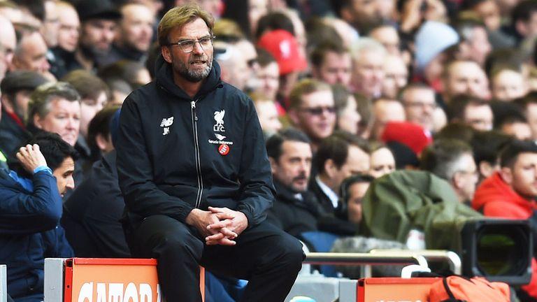 Liverpool boss Jurgen Klopp watching his first match against Tottenham