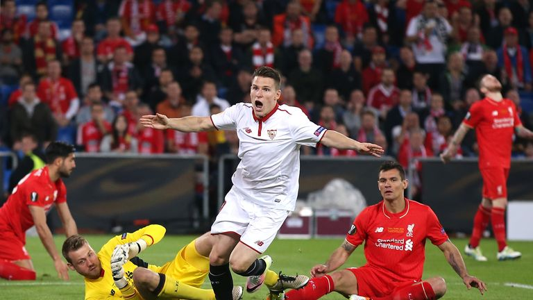 Kevin Gameiro celebrates Sevilla's equaliser, 18 seconds into the second half