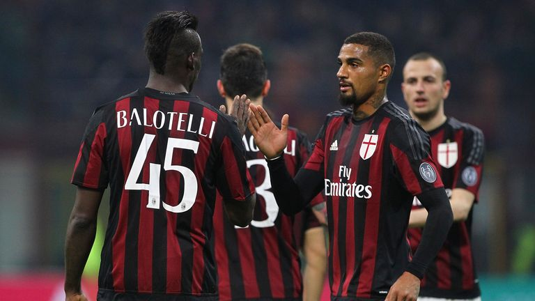 Mario Balotelli of AC Milan celebrates his goal with his team-mate Kevin Prince Boateng