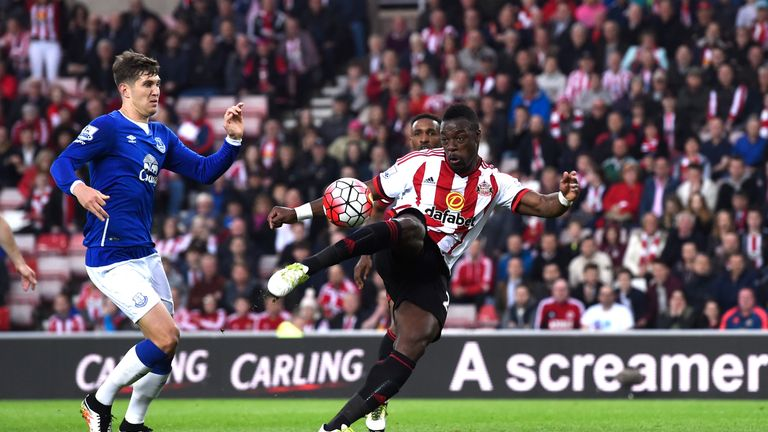 Lamine Kone of Sunderland scores his team's second goal during the Barclays Premier League match between Sunderland and