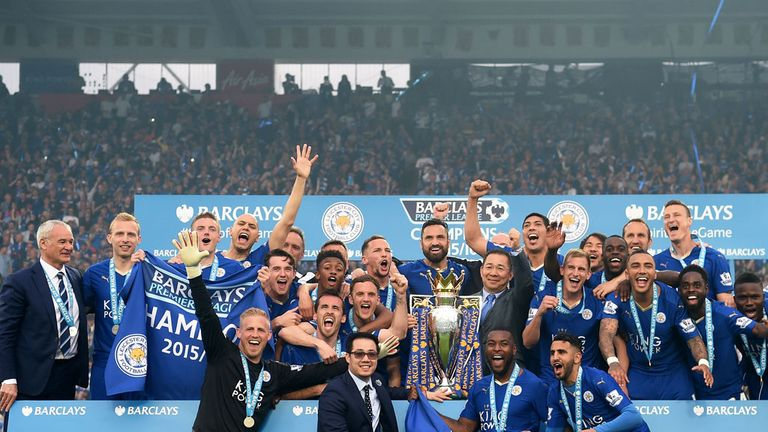 Leicester City celebrate their Premier League success