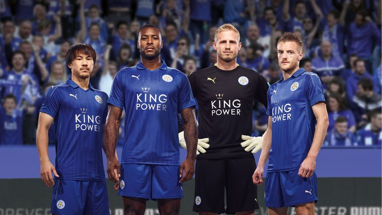 Okazaki, Morgan, Schmeichel, Vardy model Leicester's new home kit