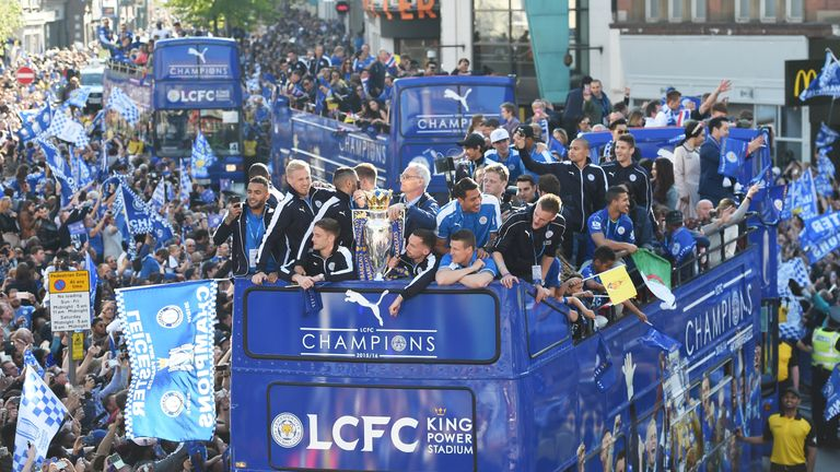 Leicester parade the Premier League trophy around the city's streets