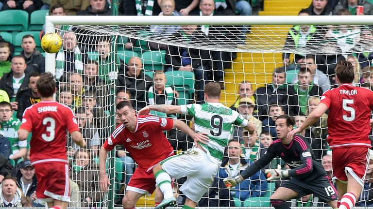 Leigh Griffiths opens the scoring in Celtic's 3-1 victory over Aberdeen in October