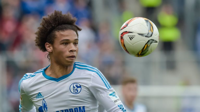 Schalke's midfielder Leroy Sane runs with the ball during the German first division Bundesliga football match FC Ingolstadt 04 vs FC Schalke 04 in Ingolsta